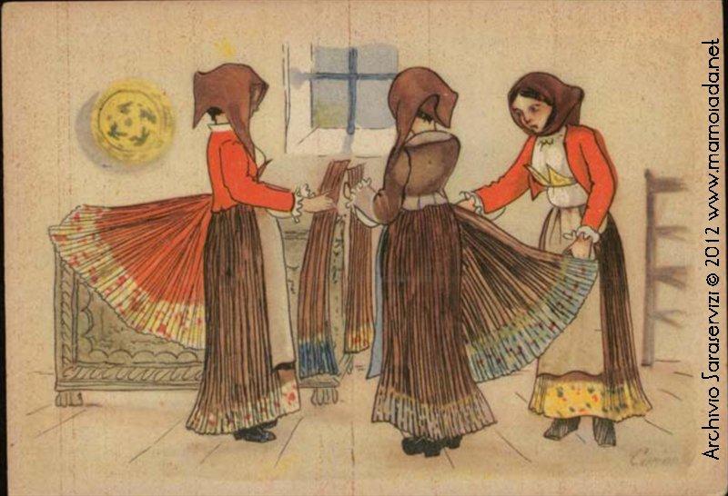 Cartolina: Pieghettratrici di Mamoiada.