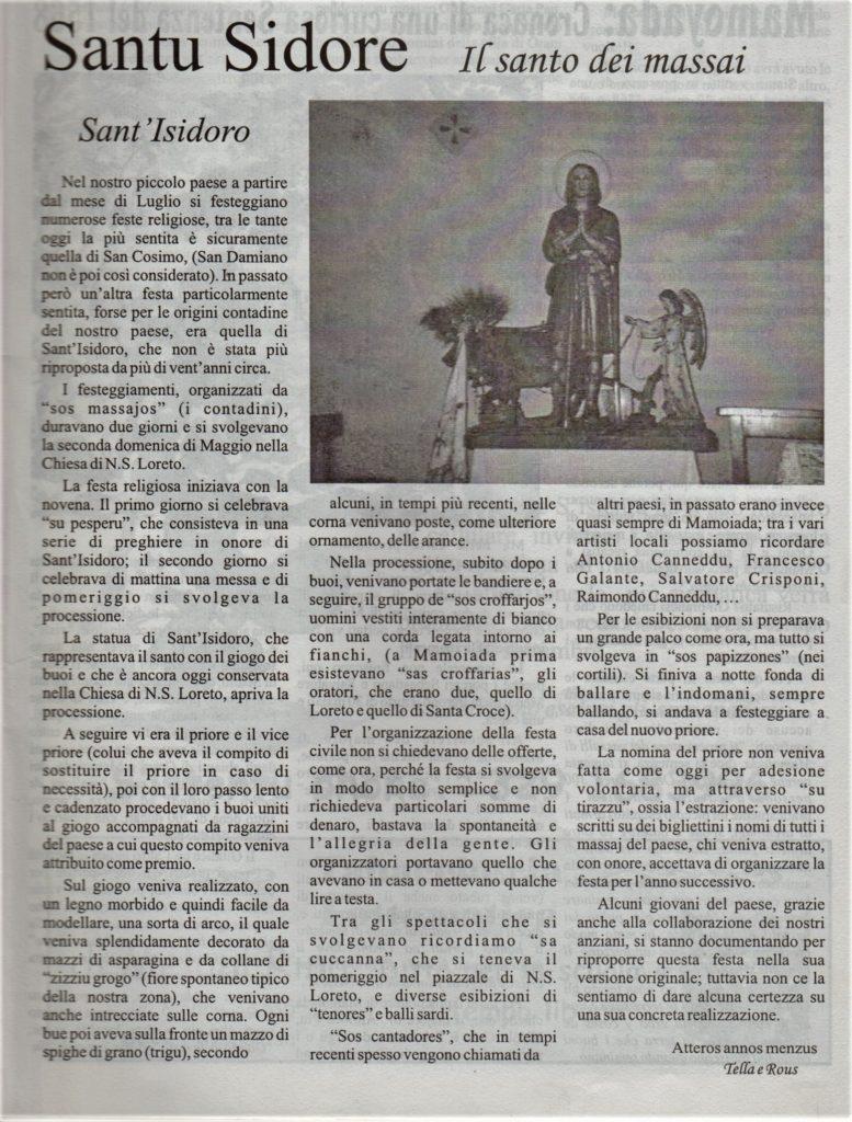 articolo S'istentu su Santu Sidore