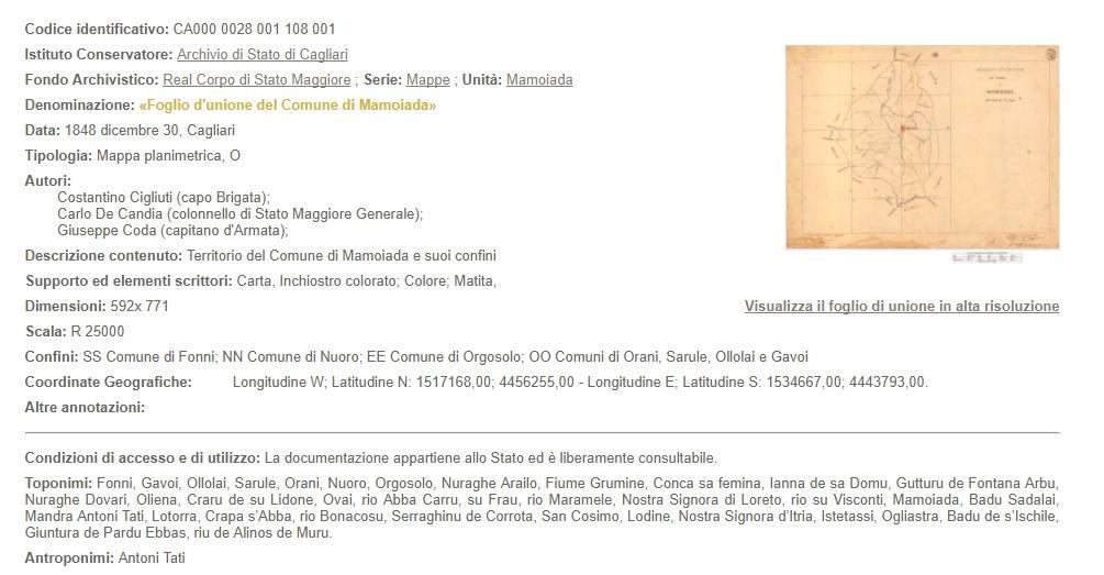 scheda-carta foglio d'unione Mamoiada